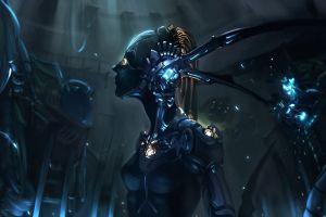 women futuristic digital art robot artwork cyborg
