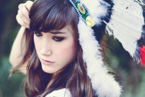 women headdress brunette feathers