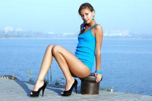 women irina j brunette water high heels pornstar legs model women outdoors