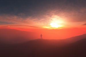 women landscape sunset mountains alone sunlight clouds