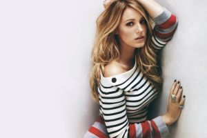 women long hair actress soft blonde looking at viewer rings painted nails blake lively striped sweaters