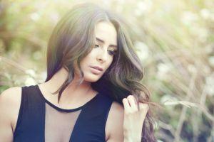 women long hair brunette model looking away