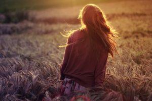 women long hair outdoors field sunlight women outdoors