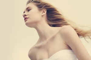 women model long hair face