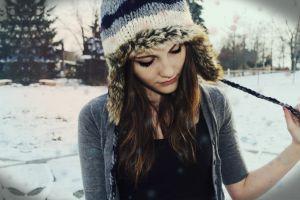 women model winter painted nails hat brunette women outdoors face