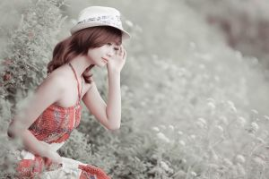women outdoors asian dress millinery model women