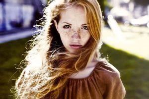women outdoors face redhead freckles filter long hair women