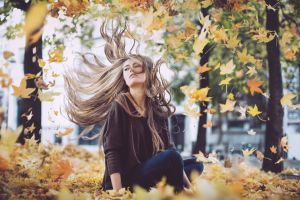 women outdoors hair in face leaves fall women long hair hair blowing in the wind windy camille rochette brunette looking away