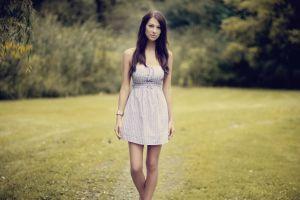 women outdoors long hair model women grass brunette dress