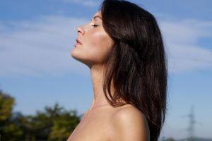 women outdoors model face closed eyes women long hair profile