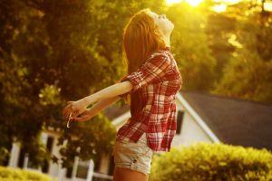women outdoors outdoors sunlight redhead women model