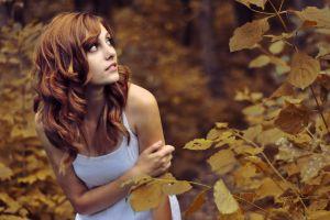 women outdoors redhead model outdoors shy women