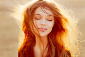 women outdoors redhead sunlight face women brunette model closed eyes nataniele ribeiro