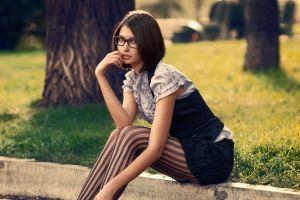 women outdoors sitting striped leggings glasses model women with glasses nerds brunette women stockings looking at viewer