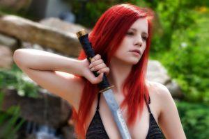 women outdoors sword dyed hair pornstar long hair ariel piper fawn redhead bikini women airbrushed katana