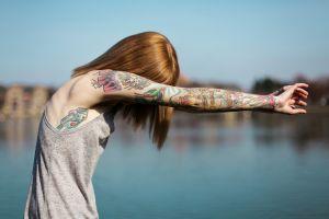 women outdoors tattoo suicide girls model covering face women