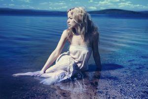 women outdoors water model women blonde white dress