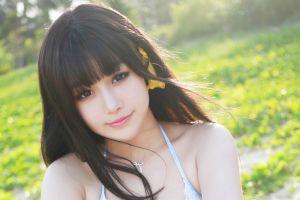 women outdoors xiuren necklace women dark hair brunette asian outdoors face