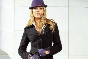 women petra nemcova black coat hazel eyes gloves model blonde