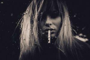 women portrait face smoking glass model water drops blonde sepia