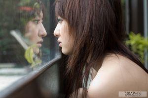 women reflection brunette looking away