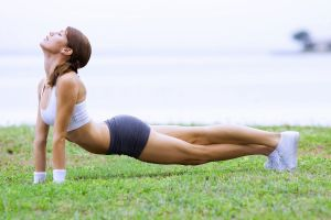 women river brunette working out closed eyes sports grass fitness model shoes sports bra sport  yoga