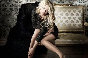 women sitting sweater legs hazel eyes heels blonde britney spears