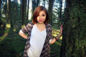 women smiling model outdoors forest