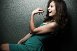 women smiling profile dress green dress brunette