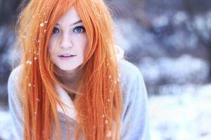 women snow blurred blue eyes wigs women outdoors model readhead cold
