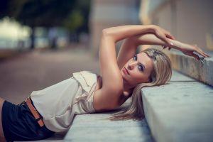 women stairs women outdoors blonde model blue eyes