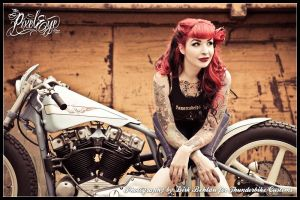 women tattoo looking away women with motorcycles long hair redhead pinup models motorcycle