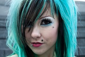 women teal hair cyan hair eyes piercing blue hair