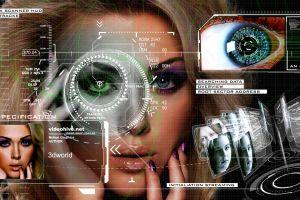 women technology face digital art painted nails