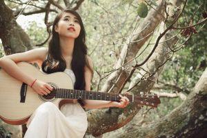 women trees guitar asian long hair women outdoors wavy hair model
