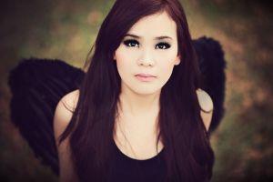 women wings long hair angel dark eyes brunette model