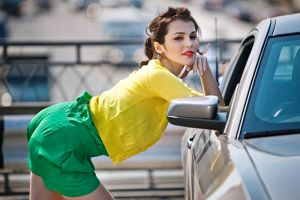 women with cars car looking at viewer women brunette red lipstick model