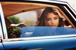 women with cars vehicle women car model looking at viewer