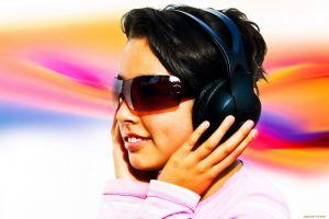 women with glasses sunglasses women hands headphones