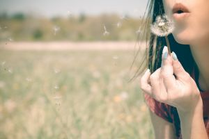 women women outdoors hands painted nails mouth flowers dandelion