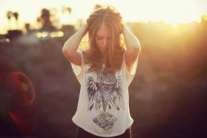women women outdoors lens flare brunette model hands on head outdoors sunlight sunset