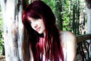 women women outdoors long hair model redhead