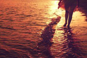 women women outdoors water legs sunset beach people