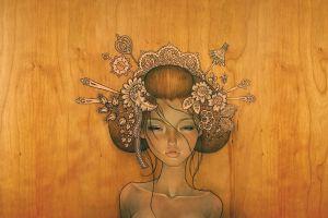 women wood artwork face drawing