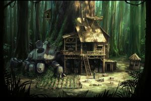 wood futuristic forest artwork house science fiction