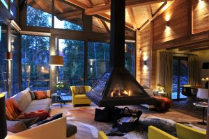 wood house interior fireplace living rooms room