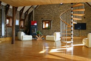 wooden surface stairs interior design