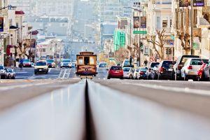 worm's eye view traffic tram san francisco street