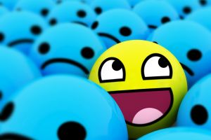yellow blue happy face awesome face