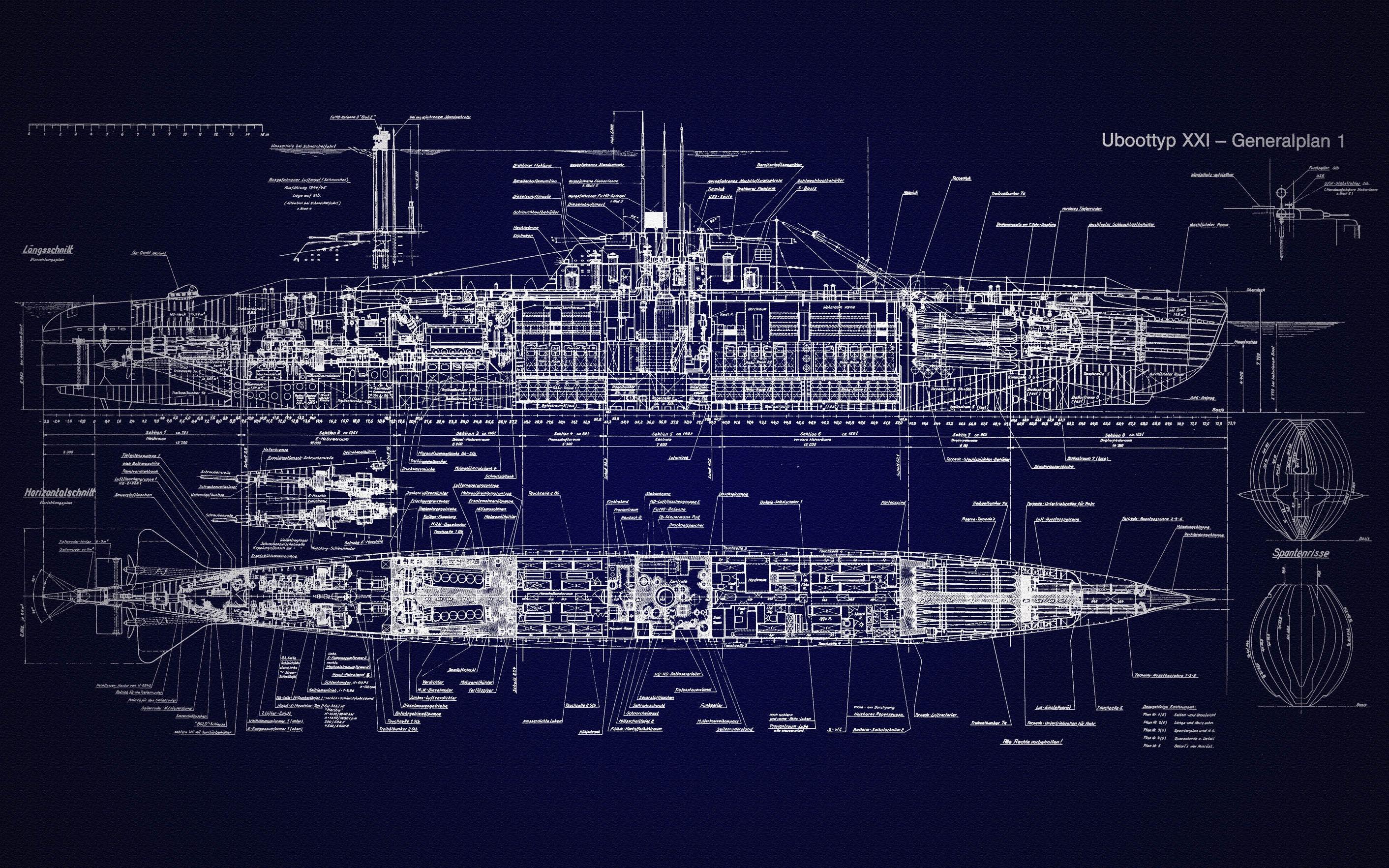 u-boat type xxi blueprints submarine schematic